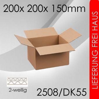 150x Faltkarton 2-wellig DK55 - 200x 200x 150mm