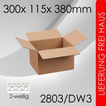 600x Faltkarton 2-wellig DW3 - 300x 115x 380mm