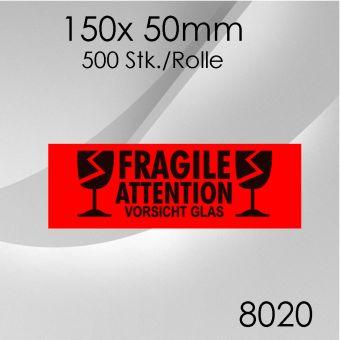 1x 500 Stk. Warnetiketten Vorsicht Glas 150x 50mm